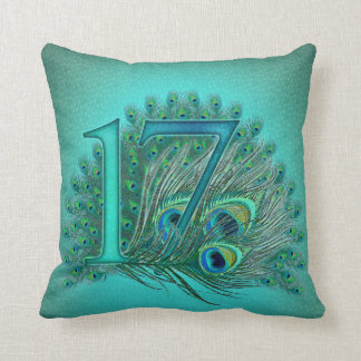 17 birthday peacock template age number cushion