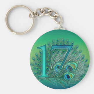 17 birthday peacock template age number key ring