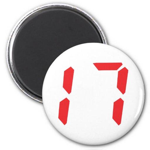 17 seventeen red alarm clock digital number refrigerator magnet