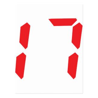 17 seventeen red alarm clock digital number postcard