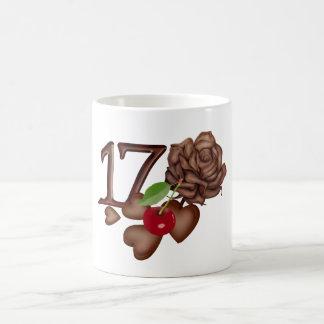 17th Birthday Chocolate hearts and rose Basic White Mug
