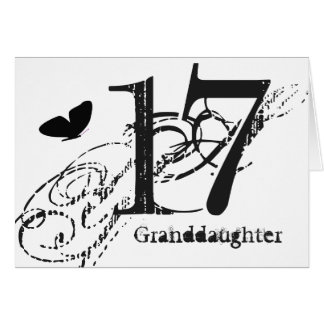 17th birthday for a granddaughter, butterfly. card