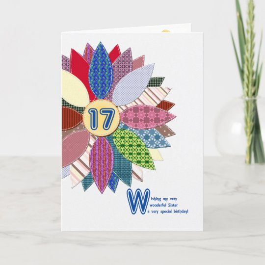 17th Birthday For Sister Stitched Flower Card Zazzle