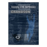 17th Birthday Grandson Modern Design Greeting Cards