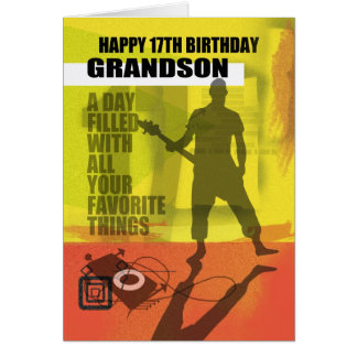 17th Birthday Grandson Modern Design Card