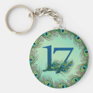 17th birthday or anniversary peacock numbers basic round button key ring
