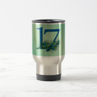 17th birthday or anniversary peacock numbers stainless steel travel mug