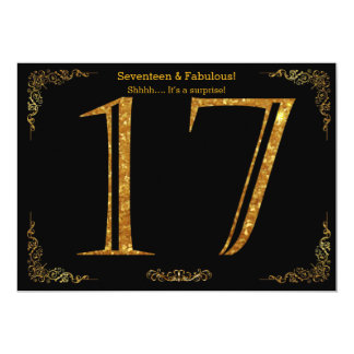 17th Birthday party,Gatsby styl,black gold glitter 13 Cm X 18 Cm Invitation Card