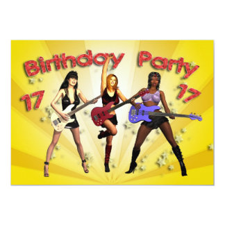 17th Birthday Party invitation with a girl band