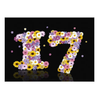 17th Birthday party with flowered letters Invite