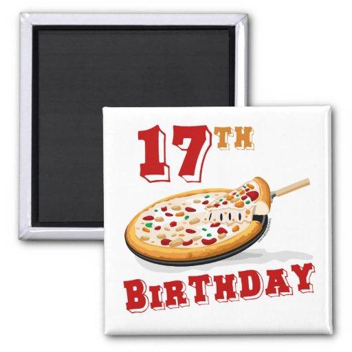 17th Birthday Pizza party Fridge Magnets