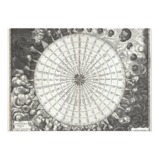 17th Century Anemographic Wind Rose Chart Invitations