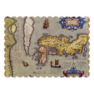 """17th Century Antique Map Japan, Mercator / Hondius 5"""" X 7"""" Invitation Card"""