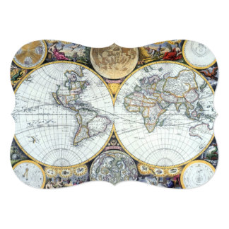 "17th Century Antique World Map by John Seller 5"" X 7"" Invitation Card"