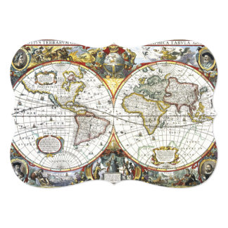"17th Century Antique World Map, Hendrik Hondius 5"" X 7"" Invitation Card"