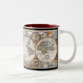17th Century Dual Hemisphere World Map Two-Tone Coffee Mug