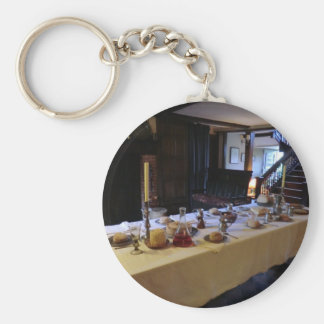 17th Century Kitchen at Old Moseley Hall Basic Round Button Key Ring
