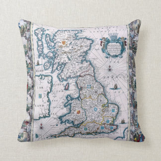 17th Century  Map Of England Throw Pillow