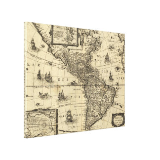 17th-century map of the Americas Stretched Canvas Print