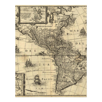 17th-century map of the Americas Flyers