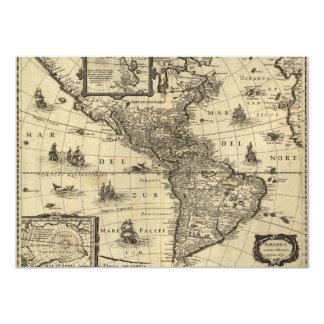 17th-century map of the Americas 11 Cm X 16 Cm Invitation Card