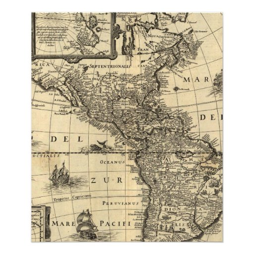 17th-century map of the Americas Photo Print