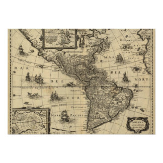 17th-century map of the Americas Poster