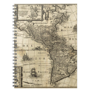 17th-century map of the Americas Spiral Notebook