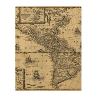 17th-century map of the Americas Wood Print