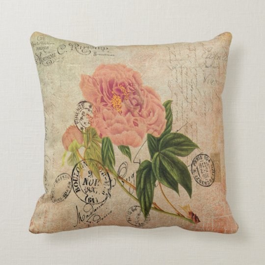 1800s French Handwriting Pink Peony Vintage Art Cushion