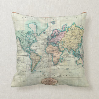 1801 Cary Map of the World on Mercator Projection Cushion