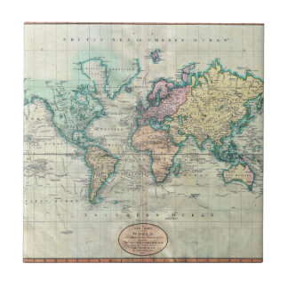1801 Cary Map of the World on Mercator Projection Tile