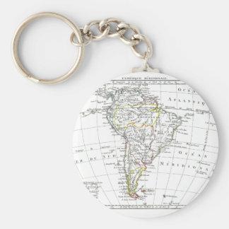 1806 Map - L'Amérique Méridionale Basic Round Button Key Ring