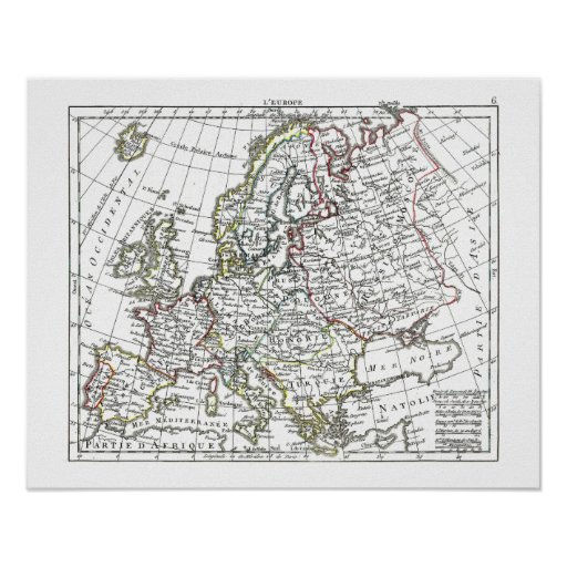 1806 Map - L'Europe Posters