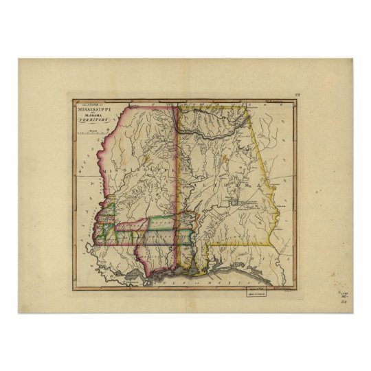 1810's Map of Mississippi & Alabama Poster