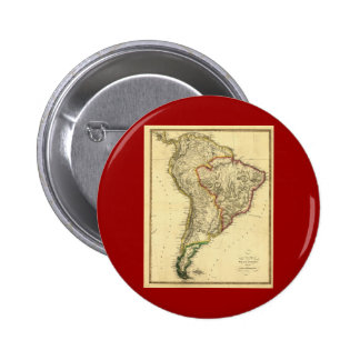 1817 Map of South America 6 Cm Round Badge