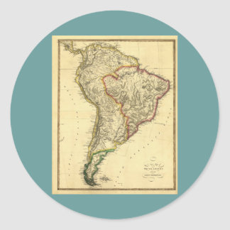 1817 Map of South America Classic Round Sticker