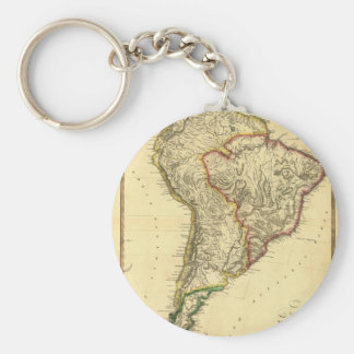 1817 Map of South America Basic Round Button Key Ring