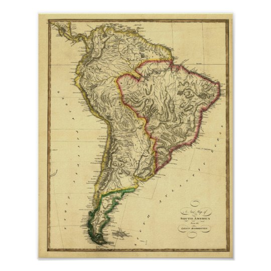 1817 Map of South America Poster