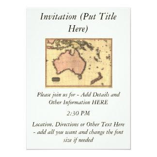 1818 Australasia Map - Australia, New Zealand 14 Cm X 19 Cm Invitation Card