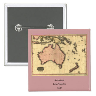 1818 Australasia  Map - Australia, New Zealand 15 Cm Square Badge