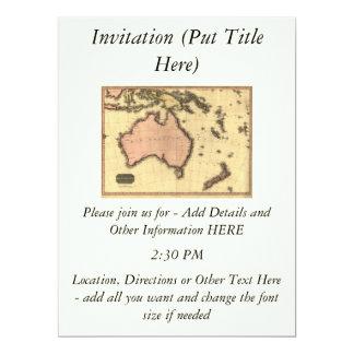 1818 Australasia Map - Australia, New Zealand 17 Cm X 22 Cm Invitation Card
