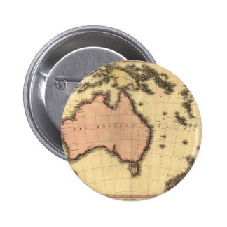 1818 Australasia  Map - Australia, New Zealand 6 Cm Round Badge