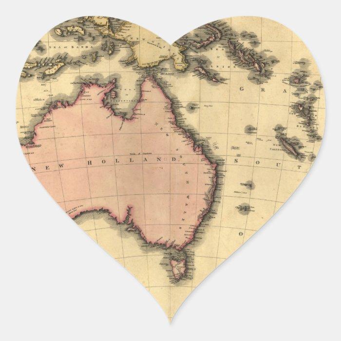 1818 Australasia  Map - Australia, New Zealand Heart Sticker