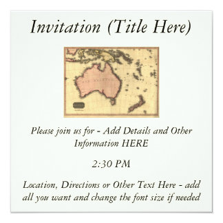 1818 Australasia Map - Australia, New Zealand 13 Cm X 13 Cm Square Invitation Card