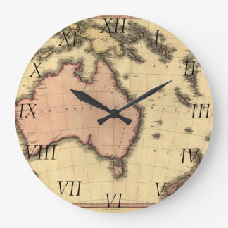 1818 Australasia Map - Australia, New Zealand Large Clock