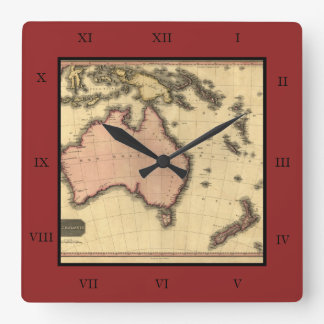 1818 Australasia Map - Australia, New Zealand Square Wall Clock