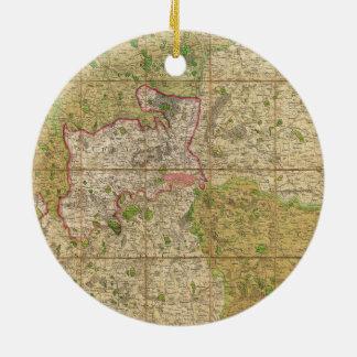 1820 Mogg Pocket or Case Map of London England Round Ceramic Decoration