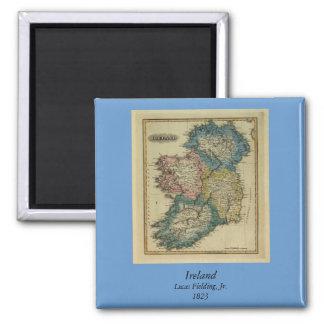 1823 Ireland map by Lucas Fielding Jr Square Magnet