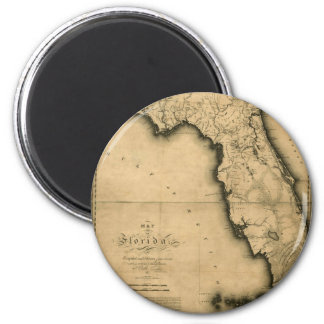 1823 Map of Florida 6 Cm Round Magnet
